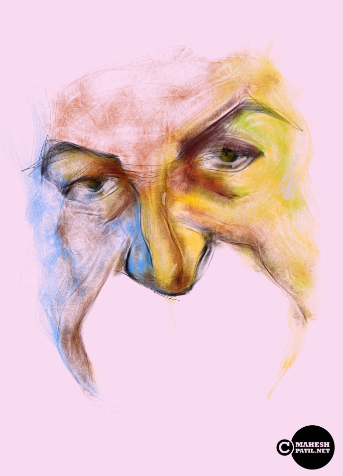 Face, ipad sketch, Mahesh Patil
